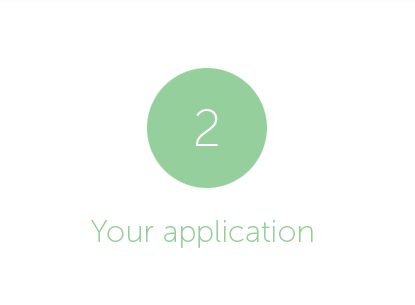 Green circle with white number 2 inside. 'Your application' written below