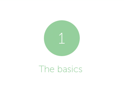 Green circle with white number 1 inside. 'The basics' written below